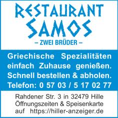 Anzeige Restaurant Samos Hille