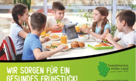 """Schild """"Wir sorgen für ein gesundes Frühstück"""" - Gewerbeverein Hiller Land"""