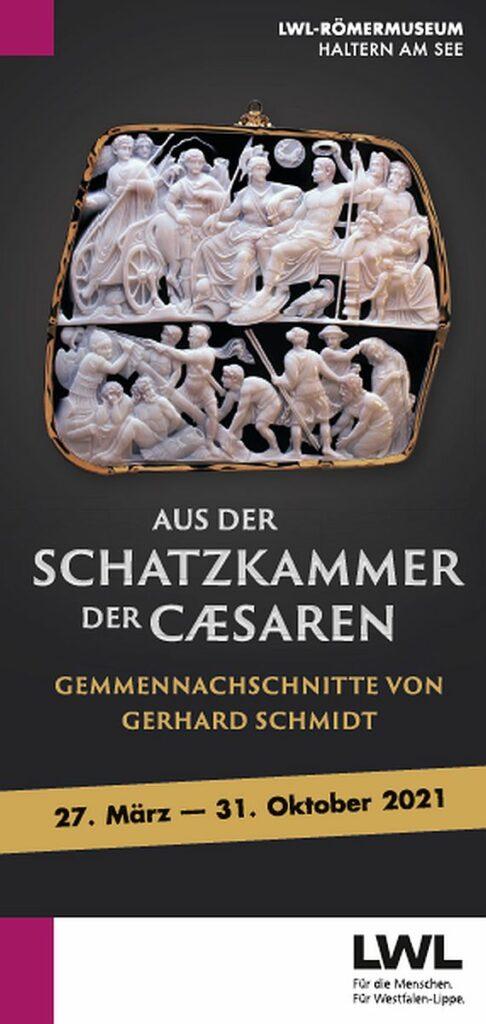 """Vom 27. März bis 31. Oktober 2021 zeigt das LWL-Römermuseum die Ausstellung """"Aus der Schatzkammer der Caesaren. Gemmennachschnitte von Gerhard Schmidt"""" - vorerst nur digital. Grafik: LWL"""
