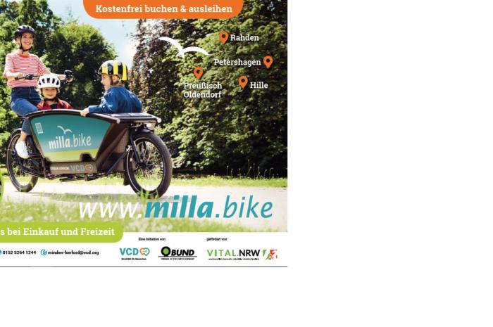 VCD bringt das freie Lastenrad milla.bike im Mühlenkreis an den Start Ab März läuft die kostenlose Ausleihe in Hille, Rahden, Preußisch Oldendorf und Petershagen