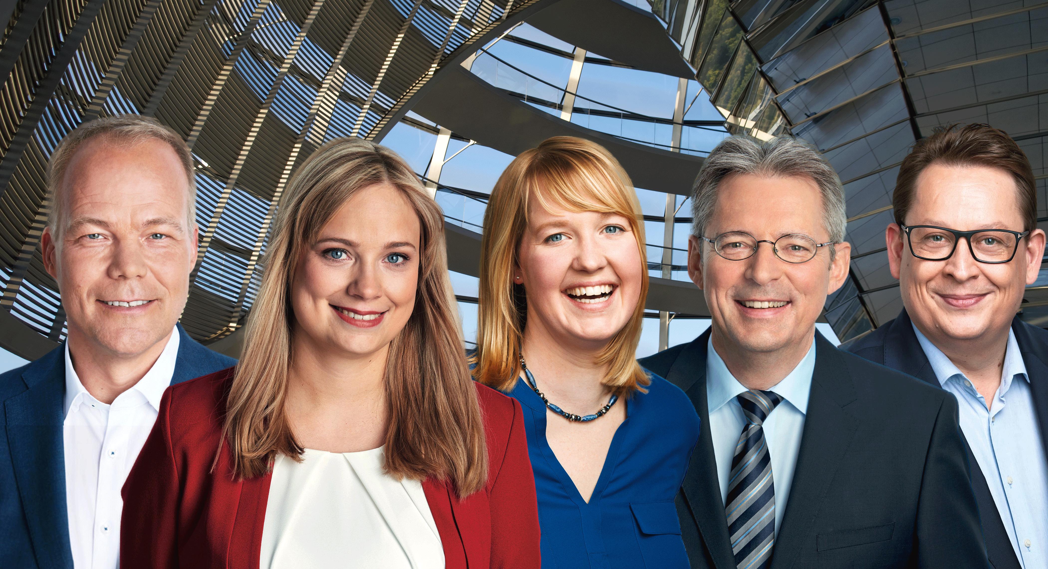 Fotocollage v.l. die SPD-Abgehordneten Dr. Matthias Miersch, Marja-Liisa Völlers, Dr. Wiebke Esdar, Achim Post, Stefan Schwartze
