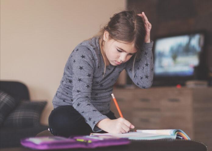 Young girl doing his school homework; Pressefoto MKK