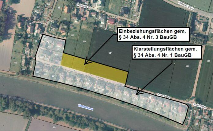 Die Innenbereichssatzung umfasst auch die bislang landwirtschaftlich genutzte Fläche nördlich der Gemeindestraße In der Riehe in Südhemmern. Karte: Geobasis NRW